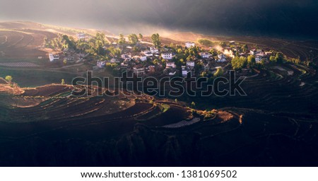 A mountain village in contrasty sunlight #1381069502