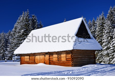 wooden hut near mountain - photo #25