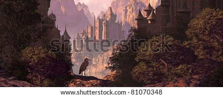 A mountainous canyon landscape with gothic castles, lake and a great blue heron.