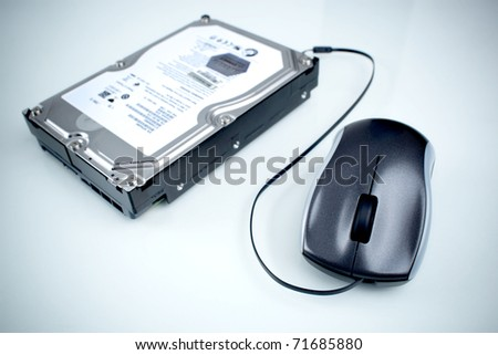 a mouse connected to a hard disk