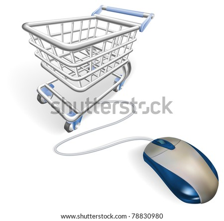 A mouse connected to a shopping cart trolley. Concept for online internet shopping.