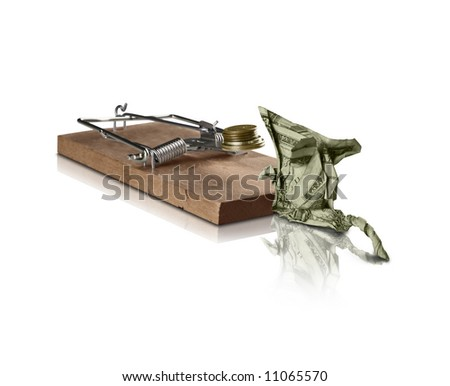 A mousetrap attracting an origami Mouse. Can be used as a concept for attracting wealth for smart investing, or risky investing.