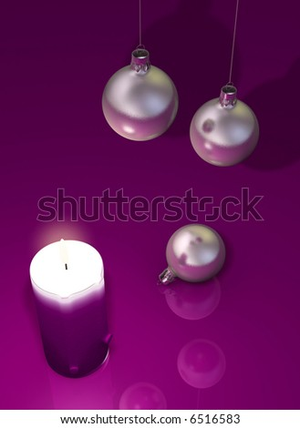 A move candle and a christmas ornament -rendered in 3d