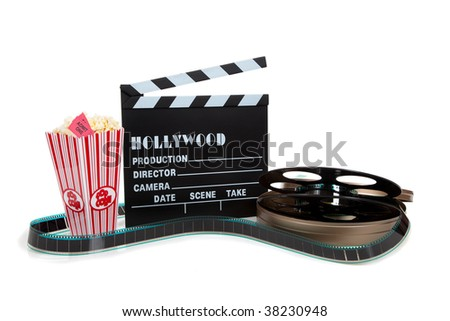 A movie reel with clapboard and popcorn on a white background