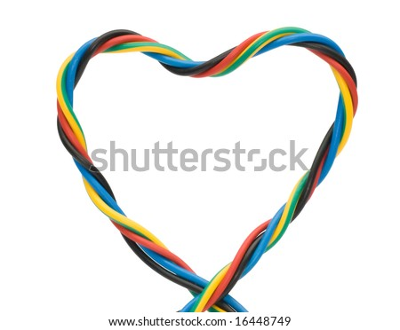 a multi colored computer cable , heart shape