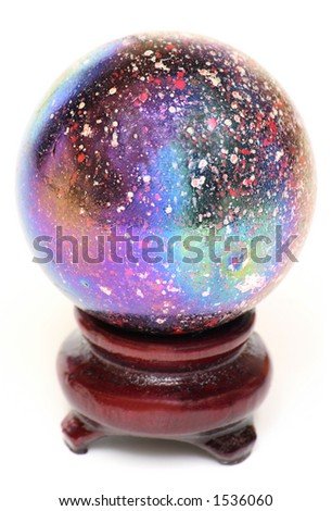 A Multi-Colored Oiled Glass Marble on a Wooden Stand Isolated on White