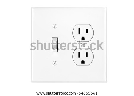 A multi power combination light switch and power outlet isolated on white.