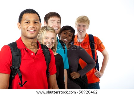 A multi-racial group of college students/friends on a white background - stock photo