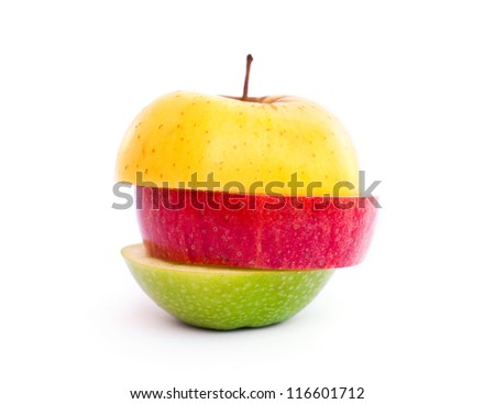 A multicolor apple cut in slices