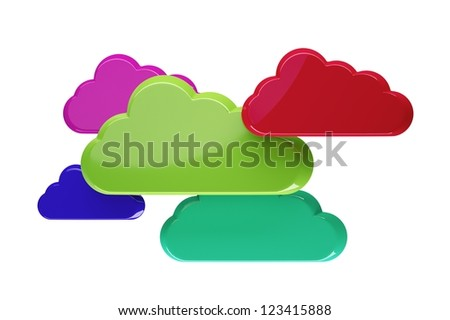 a multicolor clouds on white