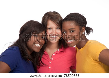 a multicultural group of beautiful female students/friends on a white background