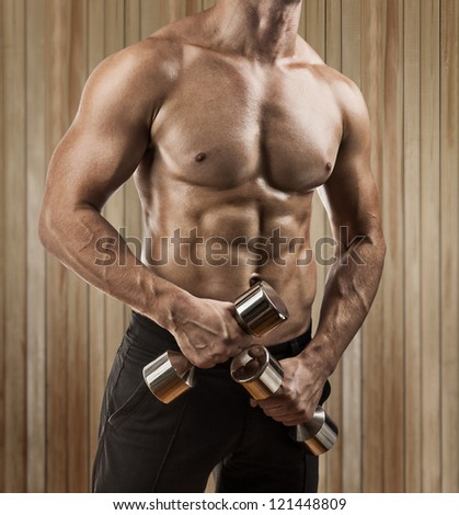 a muscular male torso close up