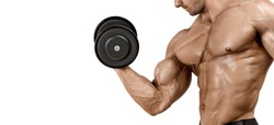A muscular male with an ideal physique does biceps exercises. Classic bodybuilding. Isolated on a white background. Copy space