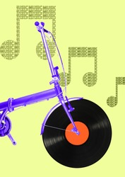 A musicial motion. An alternative view of summer transport. A purple bike with vynil record as a wheel. Travel in retro or oldschool music is starting here. Modern design. Contemporary art collage.