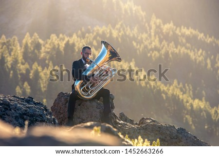 a musician plays the tuba sitting on a rock in a pine forest Сток-фото ©