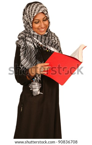 A muslim Arab Student with diary book