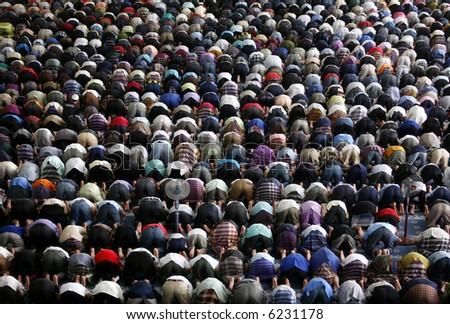 A Muslim Friday mass prayer.