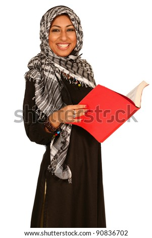A muslim Indian woman with diary book
