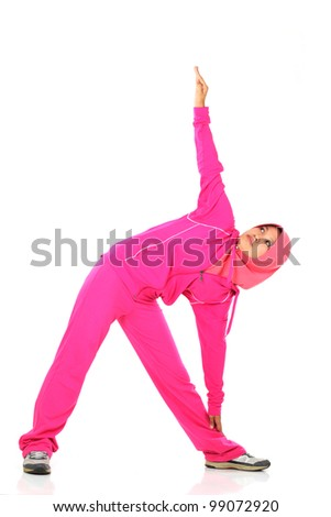 A muslim woman stretching her body before jogging isolated on white