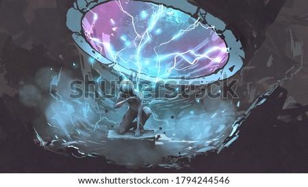 a mysterious man sitting under the futuristic portal, digital art style, illustration painting