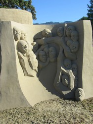 A mysterious sculpture made of sand during a sculpture festival