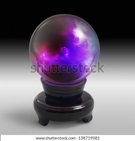 a mystic crystal ball with colorful scenery inside and stand in gradient grey gradient back
