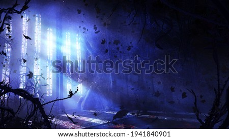 A mystical abandoned room of a Gothic building with stained glass windows from which bright moonlight shines, thorny plants everywhere, and dry leaves flying in the air. 2d illustration.