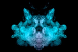 A mystical cloud of green smoke through which you can see the face of a mystical animal or ghost on a black isolated background. Abstract print for clothes.