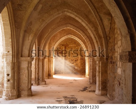 a mystical view of the interior of a ruined church