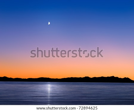 A Mythical Moonrise Over Mountains And Water As Sunset Gives Way To Twilight, Photo Composite