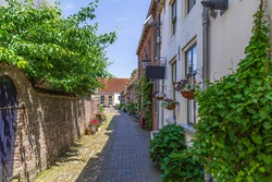 A narrow alley with old picturesque Dutch small houses with beautiful blooming flowers the town of Buren, Gelderland, Netherlands.