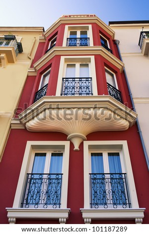 A Narrow House full of Windows in French - stock photo
