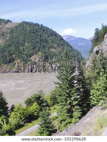 A narrow road cuts through the Fraser Canyon in southern British Columbia/The Fraser Canyon/British Columbia's Fraser Canyon