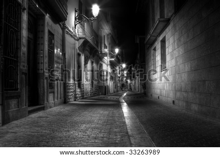 A Narrow Street at Night in Europe