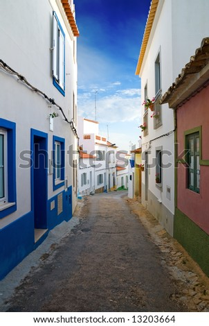 A narrow street in an old fishing village, Algarve, Portugal