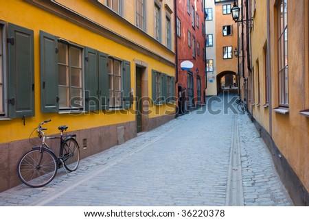 A narrow street in Gamla Stan, Stockholm