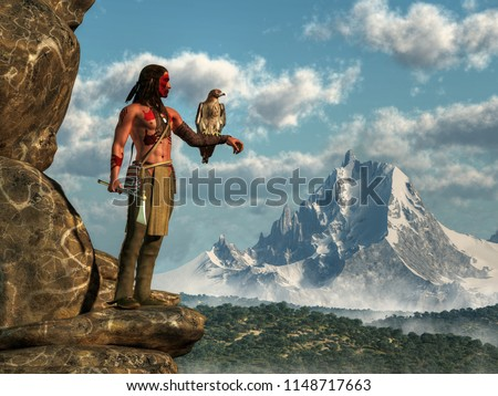A Native American hunter stands on the edge of a rocky cliff looking across a forested valley at a distant snow covered mountain. On his arm, perches his pet hawk. 3D Rendering