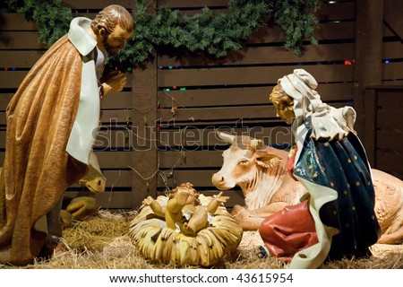 A nativity scene, cr?che, or crib, is a depiction of the birth of Jesus as described in the gospels of Matthew and Luke.