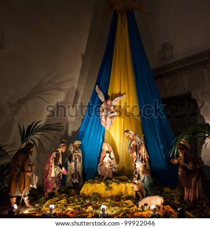 A nativity scene in The Cathedral-Basilica of Cefalu. - stock photo