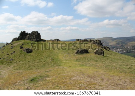 A natural stone circle at top of Caer Caradoc, the tallest hill in the Stretton hills, Shropshire. #1367670341