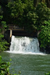 A natural view of water flow in a spillway surrounded by tress