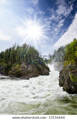 A nature landscape of river rapids in Norway