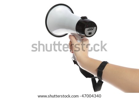 A neat human hand holding a standard megaphone. All isolated on white background.