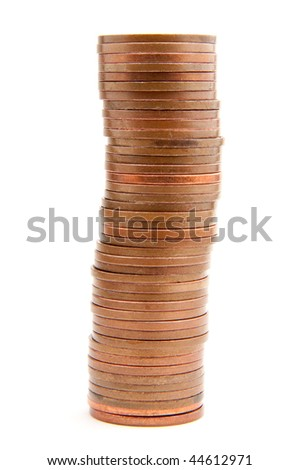 A neat pile of two pence pieces isolated on white.