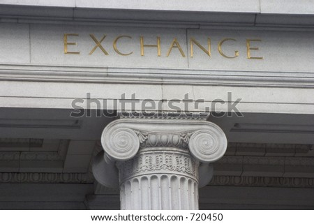 "A neoclassical pillar with the word ""Exchange"" above it."