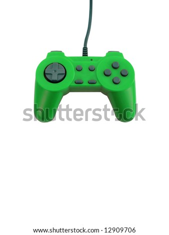 A neon green game controller isolated over white with plenty of copyspace.  This file includes the clipping path.