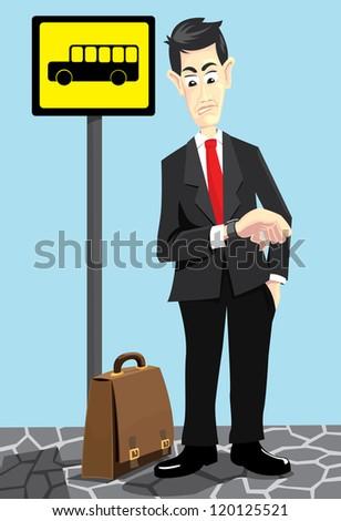 a nervous businessman waiting for a bus
