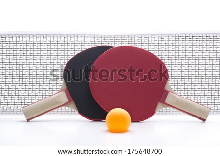 a network with two rackets and a ball to play table tennis