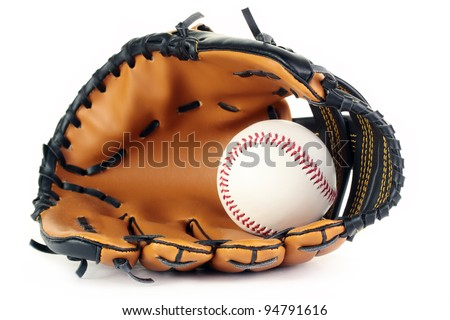 A new baseball in a new leather glove, isolated on a white background. - stock photo