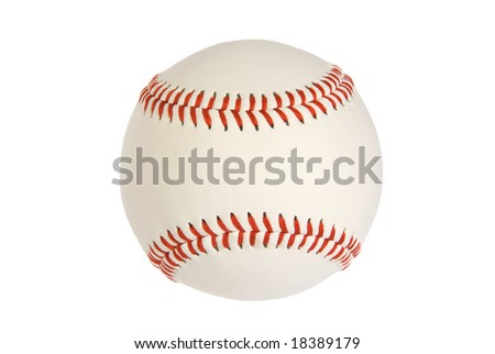 A new baseball isolated on white with red stitching